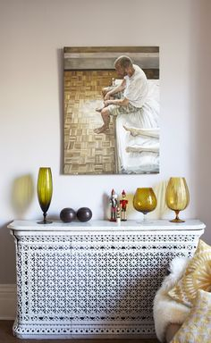 beautiful radiator cover in a beautiful, eclectic home