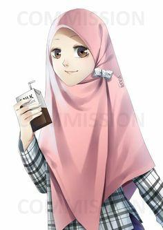 Makasih udah mau komis saya~ XD COMM: for Siti Drawing Cartoon Faces, Cartoon Sketches, Cute Drawings, Hijabi Girl, Girl Hijab, Muslim Girls, Muslim Women, Hijab Anime, Girl Cartoon