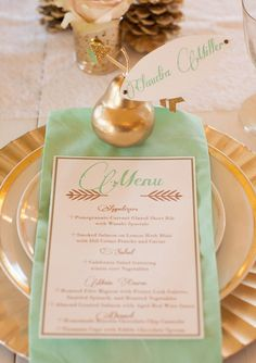 gorgeous menu and great place setting idea - using a piece of fruit to assign a seat