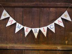 America Banner, America Bunting, Patriotic Bunting, Patriotic Decor, July 4th Banner, Burlap Bunting, Burlap Garland, Rustic Photo Prop on Etsy, $24.00