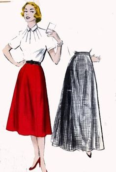 1950s Six Gore Skirt in Day and Evening Lengths Butterick 6003 Vintage 50s Sewing Pattern Wasit 24 Hips 33 by sandritocat on Etsy