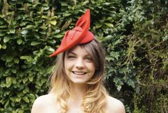 Excited to share the latest addition to my #etsy shop: Lola Headpiece - Handmade red velour felt cocktail hat, trimmed with felt leaves