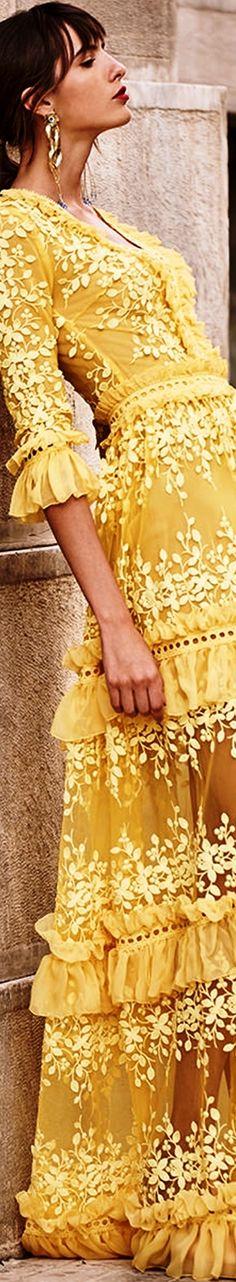 Yellow embroidered quarter length sleeve maxi dress Costarellos Spring-Summer 2018