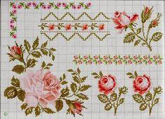 Ремесла: Вышивка скатерти с розами / Розы и Креста стежка скатерти