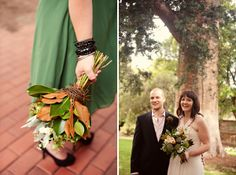 Pretty fall colors, orange and green, and a blush wedding dress ~ chic!