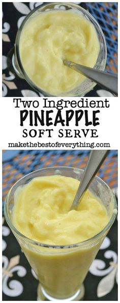 Two ingredient pineapple soft serve. Frozen pineapple blended together with yogurt. So easy and a healthy way to enjoy frozen yogurt!