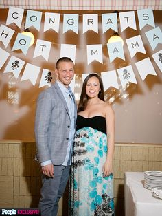 I love how they incorporated the personalized bunting banner! Bachelorette Ashley Hebert JP Rosenbaum Baby Shower