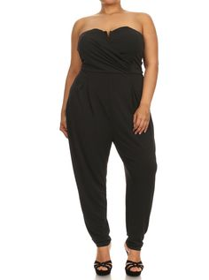 f9c19dae9c Plus Size Strapless Cross Over Black Jumpsuit – PLUSSIZEFIX Night Out  Outfit Clubwear
