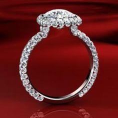 Modern Diamond Pave Halo Engagement Ring