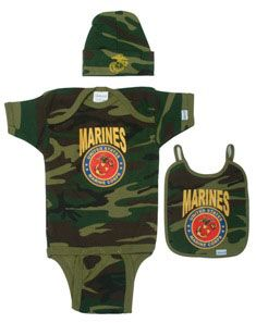 """By Command"" 3pc. Marines Baby Set. Woodland camo design. Includes onsie, bib & knit cap. 100% Cotton."