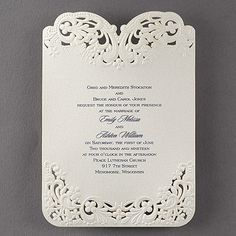 All the elegance of lace, all right here on your wedding invitation! The laser-cut lace design glows on shimmer paper. Wedding Invitation Trends, Discount Wedding Invitations, Laser Cut Invitation, Lace Wedding Invitations, Wedding Trends, Wedding Stationery, Wedding Designs, Wedding Cards, Wedding Vows