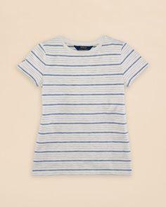 Ralph Lauren Childrenswear Girls' Jacquard Knit Stripe Tee - Sizes S-xl
