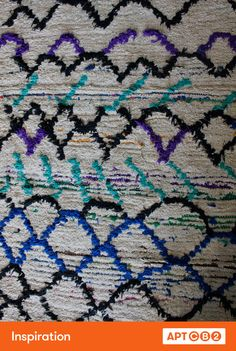I have a strong admiration for vintage Moroccan rugs – I don't think I have ever seen a classic Beni Ourain rug that incorporates blue, purple, & teal! See the bedroom of #APTCB2 come to life at www.cb2.com/APTCB2 #workswithCB2
