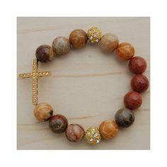 Gold Plated Cross Stretch Bracelet
