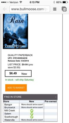 Near any of these @Jared McCollough locations?! It says #Rain is in stock! Go get your copy for a great price!