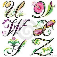 Alphabets elements design -  series U to Z by Yewkeo, via Dreamstime