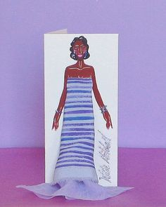 Small 3-D Fashion Greeting Card (Spring Sophistication Spring 2016 Edition) by WMitchellDesigns on Etsy