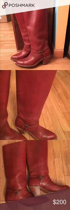 Frye Cowboy Boots Frye boots! Got these from my aunt so I've never worn them, and she didn't over wear them. Scratches and stain? On top of boot as seen in second picture. MAKE AN OFFER. I'm not familiar with frye boots I have no idea how much they are worth. Frye Shoes Heeled Boots