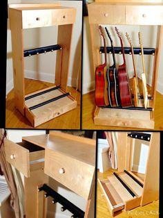 Multiple Guitar Stand with drawers and shelf by RFWco on Etsy Guitar Storage, Guitar Rack, Guitar Hanger, Diy Guitar Stand, Guitar Display, Music Guitar, Cool Guitar, Drum Music, Music Studio Room