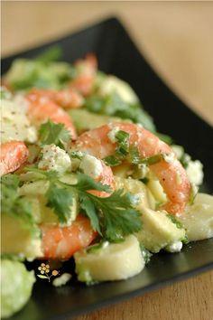 Shrimp salad, hearts of palm, avocado & Seafood Soup, Seafood Appetizers, Seafood Recipes, Shrimp Soup, Healthy Cooking, Healthy Eating, Cooking Recipes, Healthy Recipes, Shrimp Salad