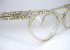 Vintage Womans Rhinestone Cat Eye Eyeglasses