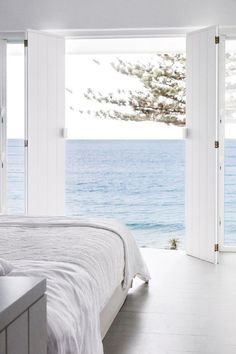 Bed facing the water view.