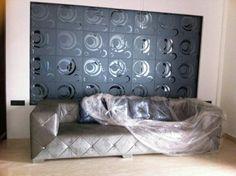 A 17 gray Mirror Tiles, Mirror Art, Glass Tiles, A 17, Glass Design, Glass Door, Couch, Doors, Interior