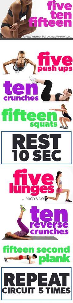 The Five-Ten-Fifteen Workout - Eat Fit Fuel Fitness Workouts, Fitness Tips, Fitness Motivation, Fitness Plan, Body Workouts, Weight Workouts, Fitness Foods, Exercise Motivation, Men Workouts