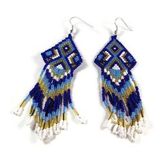 #Handmade Native Rug Style Medium Length by SpiritWolfArtistry - $38.95  #blue #earrings