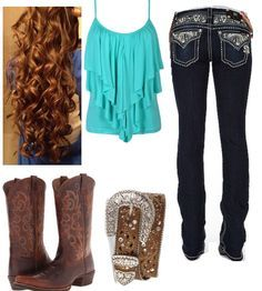Want it country style outfits, summer country outfits, western girl outfits, country girl Western Girl Outfits, Country Girl Outfits, Country Girl Style, Country Fashion, Cowgirl Outfits, Country Girls, My Style, Country Life, Country Girl Clothes