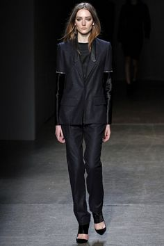 Tuxedo @Yigal Azrouël newest fall collection, love freckled navy wool with zip-off ponyskin sleeves