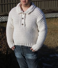Natural Super wash, merino wool HANDMADE Knit Aran Sweater with Collar/ Unisex/ will fit  M to 2X Large - Ready to ship Today by ufer on Etsy
