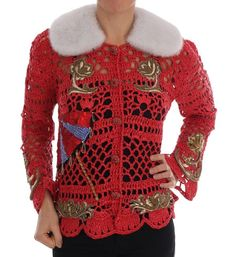New Dolce gabbana womens red fairy tale fur crystal cardigan sweater. womens Sweaters from top store Emporio Armani, Red Sweaters, Sweaters For Women, Skinny Scarves, Lace Scarf, White Pumps, White Fur, Fur Collars, Phillip Lim