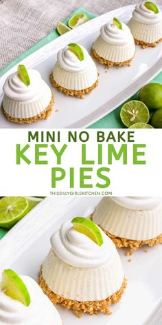Mini Key Lime Pies, Frozen Key Lime Pie, Mini Desserts, Easy Desserts, Delicious Desserts, Yummy Food, Best Dessert Recipes, Sweet Recipes, Cake Recipes