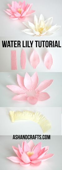 Flor de loto en papel crepe