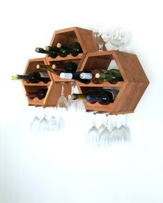 Honeycomb Wine Rack - Mid Century Modern - Kitchen Decor - Hexagon Wine Racks…