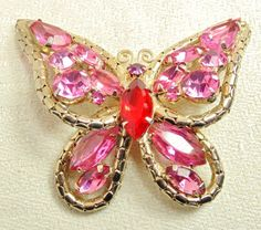 Red & Pink Rhinestone Butterfly D and E aka Juliana by imagiLena, $40.00