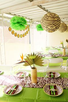 Whimsy & Wise Events: Modern Safari Shower  Safari baby shower, green and brown, zebra print, banner, centerpieces, candy station