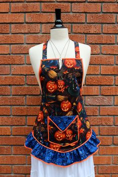 Vibrant Halloween Full Apron with Ruffle and Pocket
