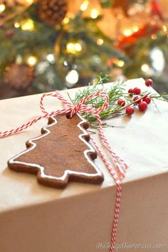 Easy Cinnamon Scented Ornaments! Love using these to embellish packages, write on with paint to use as the tag on the present, or even just hang on the tree.