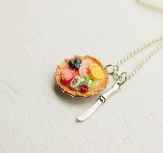 SO CUTE!! | Fruit Tart Necklace Food Jewelry - Miniature Food Jewelry