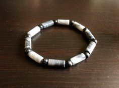 Black Tourmaline and Black/Grey Marble Stretch Bracelet