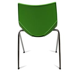 Color: Green Shell chairs by Italian designer Angelo Pinaffo are lightweight, stackable, and durable with a unique and elegant design. Eight designer colors from beige to bold orange make these the perfect chairs for any decor. The Shell chairs fit as well in the dining room as they do in a home office. The shells are designed for superior strength in the seams where other chairs tend to break down. The legs are made of premium steel with a chrome finish for superior quality.