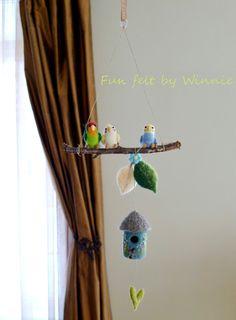 Needle felted Birds mobile OOAK handmade wool by FunFeltByWinnie