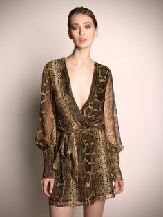 snake print wrap dress/robe. This would be fun to layer