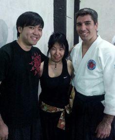 Shou Ryu Daiko y amigo en exhibicion de aikido a cargo de Nicolas Roldan