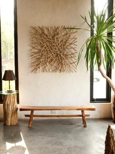 stick wall art and samurai bench zen vibe from Asian Art Imports Green Home Decor, Asian Home Decor, Asian Wall Art, Asian Art, Natural Wood Furniture, Natural Wood Crafts, Natural Wood Decor, Plywood Furniture, Modern Furniture