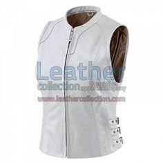 Women White Classic Leather Vest for $95.20 - https://www.leathercollection.com/en-we/women-white-classic-leather-vest.html