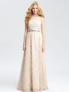 Attractive Empire Strapless Floor-Length Flowers-Cover Wedding Dresses