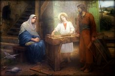 Painting  at the Church of St Joseph, Nazareth. (Built on the spot of St Joseph's Shop)